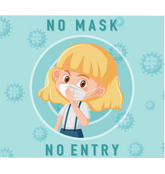 no mask entry sign with cute girl cartoon vector image