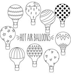 Outline hot air balloons vector