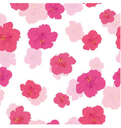 Pink hibiscus flowers seamless repeat pattern vector