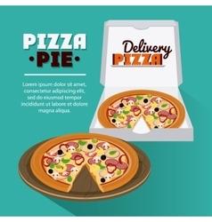 Pizza pie and carton box design vector image