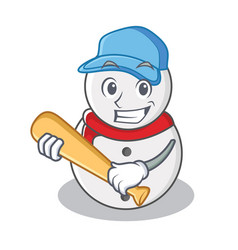 playing baseball snowman character cartoon style vector image
