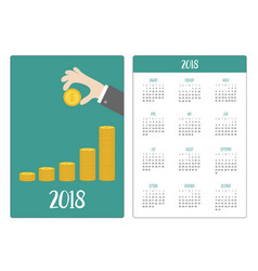 Pocket calendar 2018 year week starts sunday hand vector