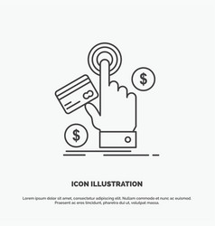 Ppc click pay payment web icon line gray symbol vector