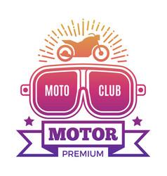 premium motor club label design vector image