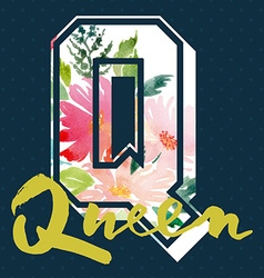 Queen to print T-shirts Watercolor background Hand vector