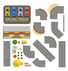 Race car sport track curve road top view vector