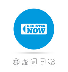 Register now sign icon join button symbol vector