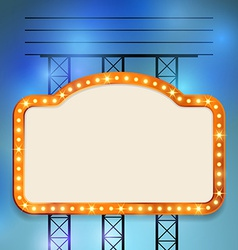 Retro cinema old vintage bulb frame sign vector image