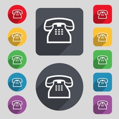 retro telephone handset icon sign A set of 12 vector image