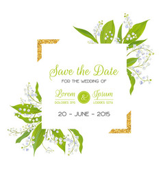 Save date card with blossom lily valley vector