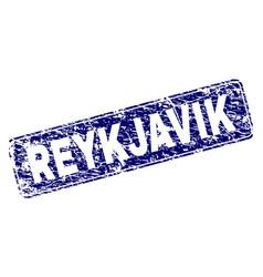 Scratched reykjavik framed rounded rectangle stamp vector