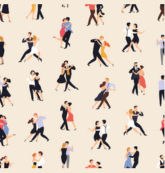 seamless pattern with people dancing argentine vector image