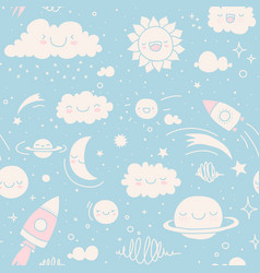 seamless sky doodle pattern vector image