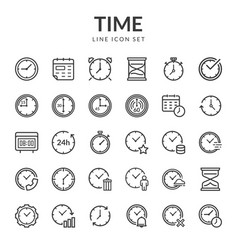 Set line icons of time vector