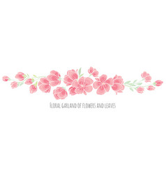 set of design elements pink sakura blossom vector image