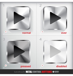 Set of four positions of Metal Play Button vector image vector image