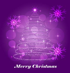 shining christmas tree winter background vector image