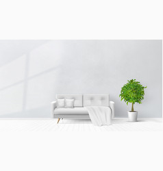 Simple living room interior with gray sofa vector