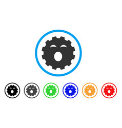 Sleepy smiley gear icon vector