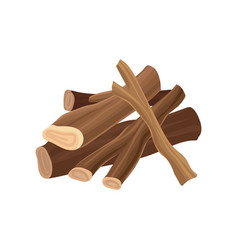 stack of firewood dry logs for bonfire wood vector image