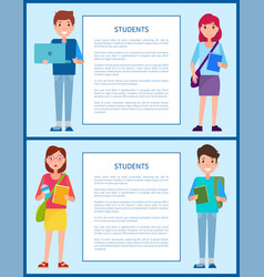 Students posters set text vector