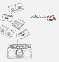 Tape cassette boombox and video tape hand draw vector