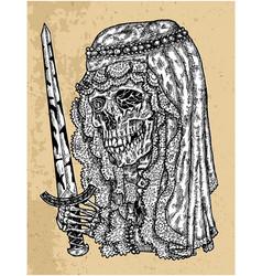 Textured scary bride skull in veil vector