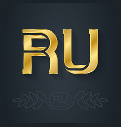 The abbreviation russia r and u initial gold vector