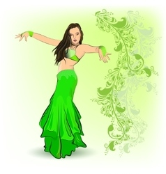 The belly dancer in green vector image