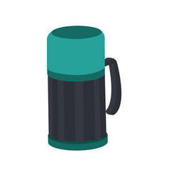thermo flask bottle beverage handle object vector image