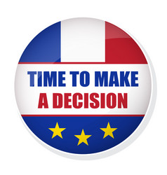 Time to make a decision pin button with flag of vector