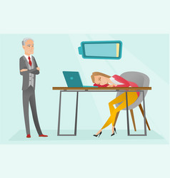 tired caucasian employee sleeping at workplace vector image