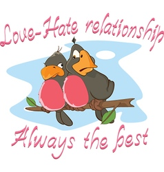 Two Love birds Adage Postcard vector image