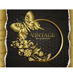 Vintage background with golden design elements vector