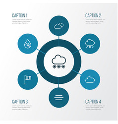 Weather outline icons set collection of snow vector