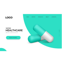 web banner with realistic green capsule pills vector image