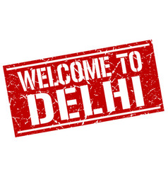 welcome to delhi stamp vector image