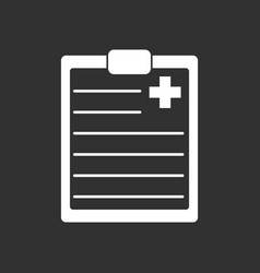 White icon on black background medical board vector