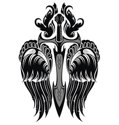 Wings and Sword vector image