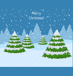 winter woodland landscape with spruce fir trees vector image