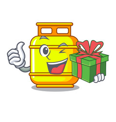 With gift creative in gas cartoon tank container vector