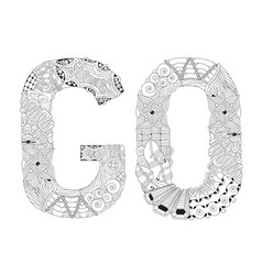 word go for coloring decorative zentangle vector image