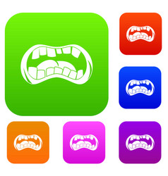 Zombie mouth set color collection vector