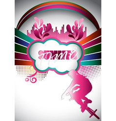 abstract summer composition with bmx biker vector image vector image