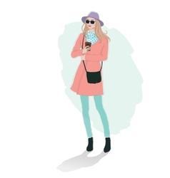 Beautiful young women girl fashion jacket in vector image