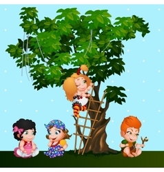 Company kids girls and a boy playing near the tree vector image vector image