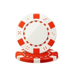 Gambling Red and White Poker Chips vector image vector image