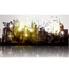 grunge city panorama vector image