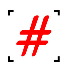 hashtag sign red icon inside vector image