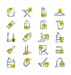 laundry and washing service line icons set vector image vector image